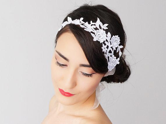 Mariage - Mevale // Bridal Headband/ Bridal Headpiece/ Lace Headband/ Retro Headband/ Wedding Accessories/ Bridal Accessories/ Lace Headpiece