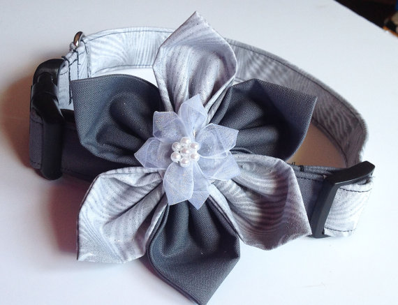 Wedding - Two Toned Silver and Dark Gray Dog and Cat  Collar With Matching Collar Flower or Bow Tie For Wedding & Special Events Dog Collar