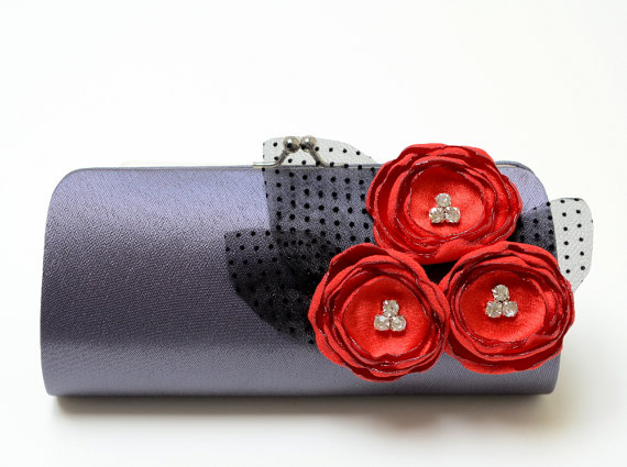 Wedding - Bridesmaid Clutch Rockabilly Retro Clutch in Dark Charcoal Gray - Cherry Red Rhinestone Flower Blooms - Bouquet Clutch - 50's Wedding
