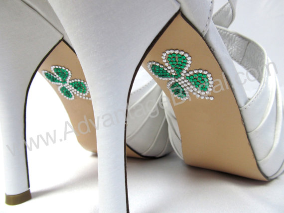 Wedding - Irish Wedding Shoe Appliques - SHAMROCK - IRISH - CELTIC Rhinestone Shoe Decals for your Wedding Shoes