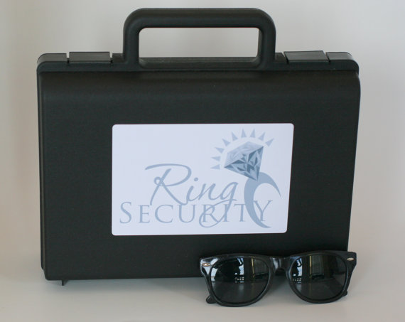 Wedding - Silver Ring Security Briefcase with Sunglasses -- Ring Bearer Gift, Ring Bearer Box Pillow Alternative