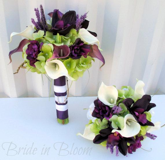 plum wedding bouquet 3 piece set real touch wedding flowers calla lily orchid bridal bouquet. Black Bedroom Furniture Sets. Home Design Ideas