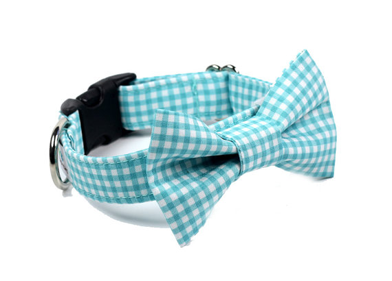 زفاف - Wedding Dog Collar -  Bow Tie Dog Collar - Gingham BowTie Collar - Aqua Gingham