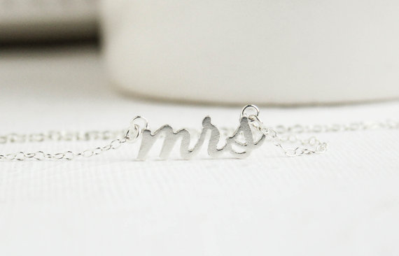 Wedding - Mrs Necklace, Silver Mrs Necklace, Soon to be Mrs, Bridal Shower Gift, Bridal Jewelry, Wedding Jewelry