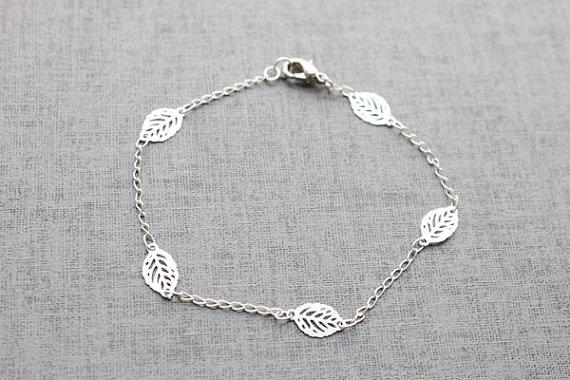 Simple Silver Leaf Bracelet S3104