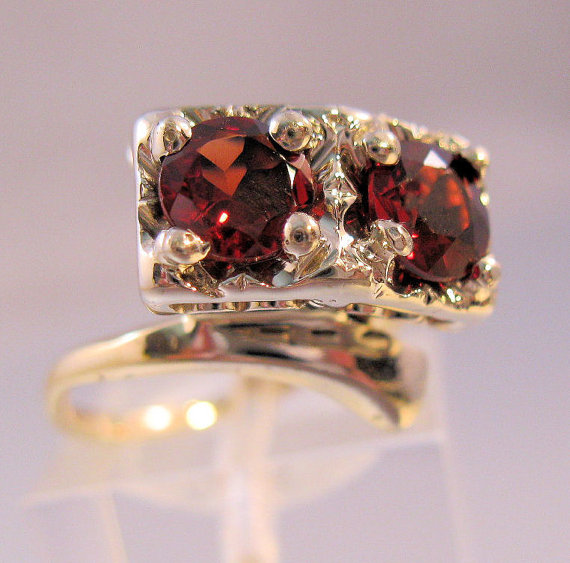 Wedding - Vintage 1940s Engagement Ring 14k Double Garnet Ring 1.2 carats Yellow/White Gold Jewelry Size 6 1/2 SALE & FREE SHIPPING