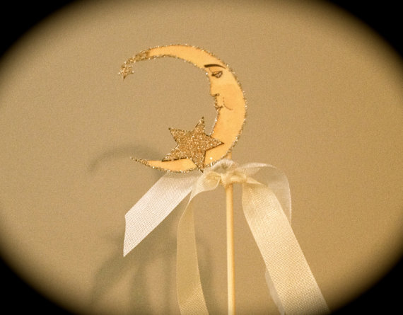 Mariage - Wedding Cake Topper -Crescent Moon - Vintage Inspired -  Silver Glitter