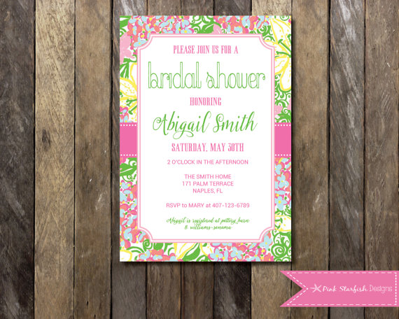 PRINTABLE Lilly Pulitzer Bridal Shower Invitation Digital Printable File Wedding Couple Bachelorette Hen