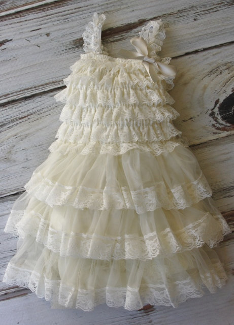 Hochzeit - Ivory Chiffon Girls Dress- Flower Girl Dresses- Cream dress- Lace dress- Rustic Girls Dress- Baby Lace Dress- Junior Bridesmaid