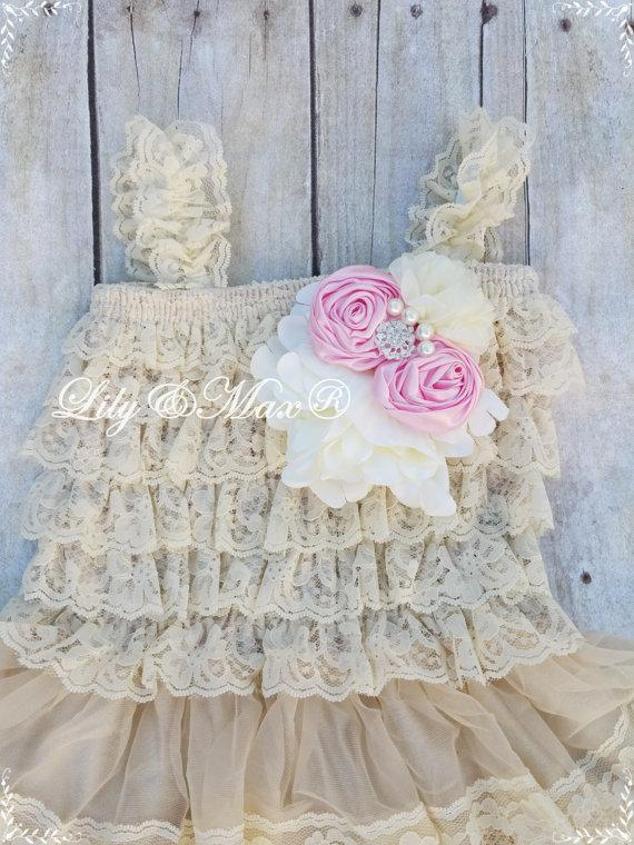 Wedding - flower Girl Posh dress,Lace   flower Girl dress, Posh lace Set, Vintage lace chiffon Dress,Baby Lace Dress, Country Flower Girl dress,