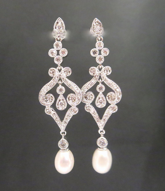Pearl Bridal Earrings Crystal Wedding Long Earring Jewelry Cubic Zirconia Chandelier