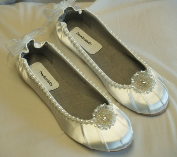 Wedding WHITE Flats Satin Shoes adornment pearls silver beads crystals