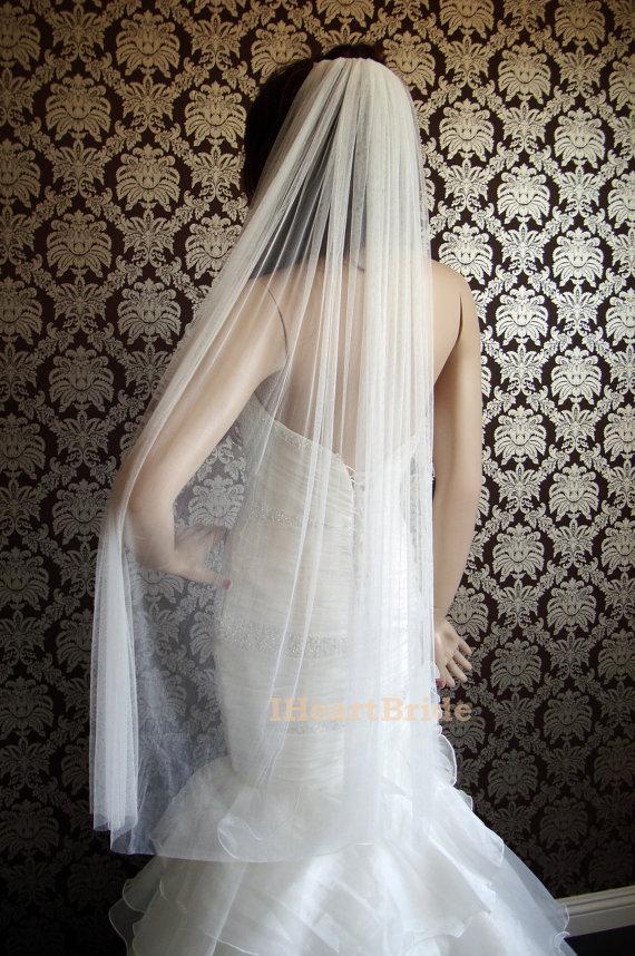 "Hochzeit - Pure Silk Luxury Soft Silk Veil 72"" Wide Cut Edge Softest Silk Tulle Bridal Veil by IHeartBride Silk Tulle Collection V-AS72 Dream Veil"