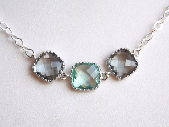 Hochzeit - Gray Necklace, Aqua Necklace, Grey Necklace, Erinite, Mint, Sterling Silver, Charcoal, Bridesmaid Necklace, Bridal Jewelry, Bridesmaid Gift
