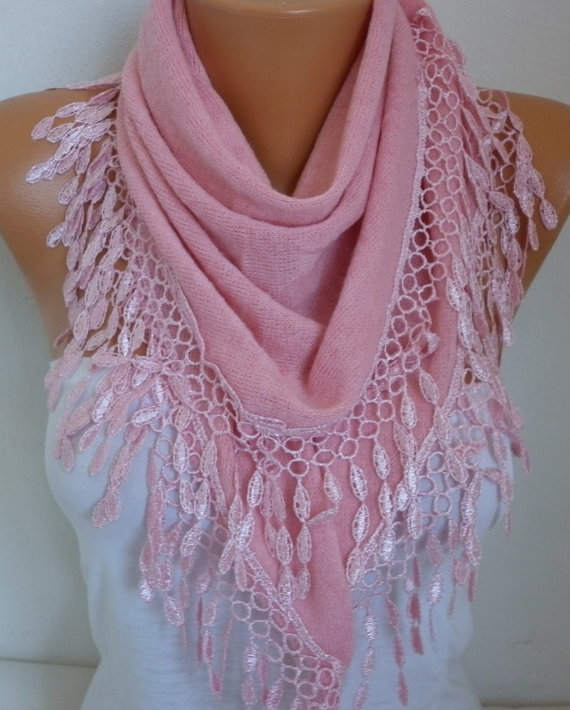 Wedding - Pink Knitted Scarf Shawl Lace Oversized Bridesmaid Bridal Accessories Gift Ideas For Her Women Fashion Accessories Mother Day Gift