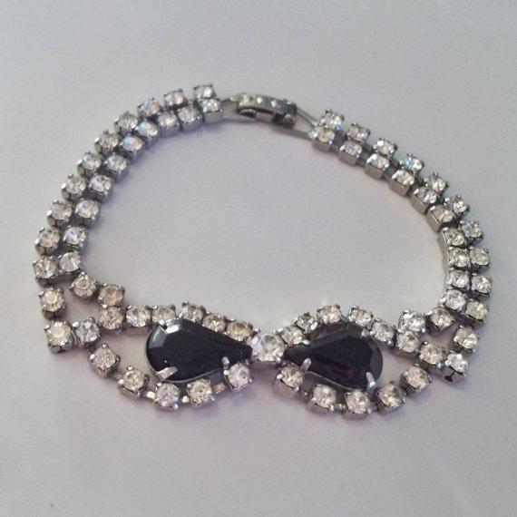 Vintage 1950s Black Rhinestone Braceletwedding Jewelry Bridal Fashions Jet Special Occasion Wedding Bracelet