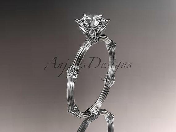 Mariage - 14k  white gold diamond vine and leaf wedding ring,engagement ring.ADLR38