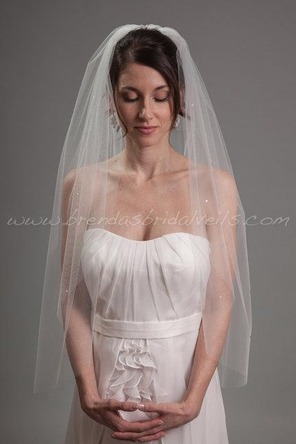 زفاف - Bridal Veil Swarovski Crystal Rhinestones Scattered, Wedding Veil - Ginger Veil