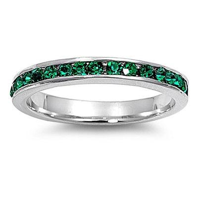 Mariage - 3MM Sterling Silver Channel Round Emerald Green CZ Stackable Full Eternity Wedding Engagement Anniversary Band Ring Size 3-12