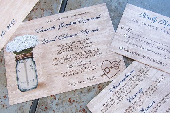 Hochzeit - Rustic Mason Jar Wedding Invitation set. Mason Jar and Flowers Wedding Invitation set