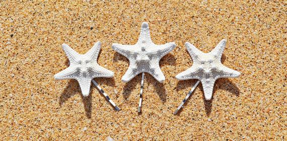 Свадьба - Set of 3 White Starfish Mermaid Hair Bobby Pins - Hair Accessories, Mermaid Hair, Beach Wedding Hair Accessories, Starfish Hair Accessories