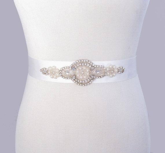 Hochzeit - Crystal Satin Sash, Beaded Rhinestone Pearl Bridal Belt, Jeweled Wedding Dress Sash, Bridesmaid Silver Gown Belt, 35 Satin Ribbon Options