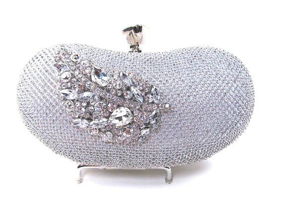 Wedding - Curved Silver Rhinestone Crystal Bridal Clutch, Wedding Purse, Evening Clutch