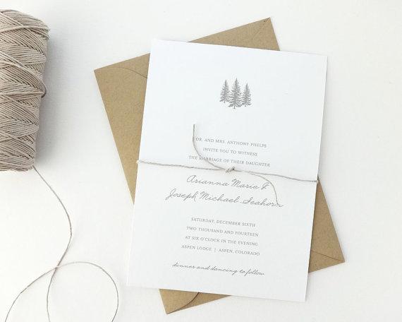 Aspen Wedding Invitation Sample Rustic Wedding Invite Winter