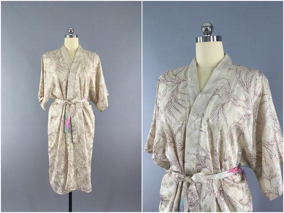 Kimono Robe Vintage Indian Sari Floral Print White Ivory Long