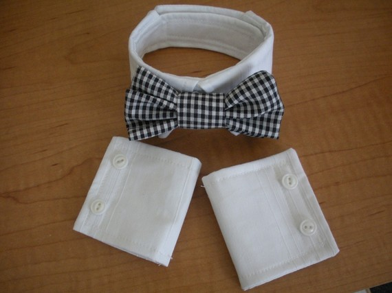 زفاف - Pug or Small Dog Bowtie Collar and Cuffs