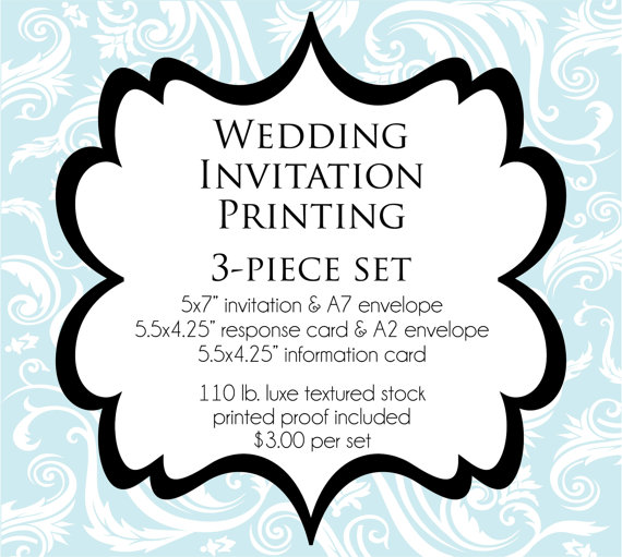 Свадьба - PRINTED 3-Piece Wedding Invitation Suite -  Heavy 110 lb Luxe Texured or Shimmer Card Stock with Envelopes