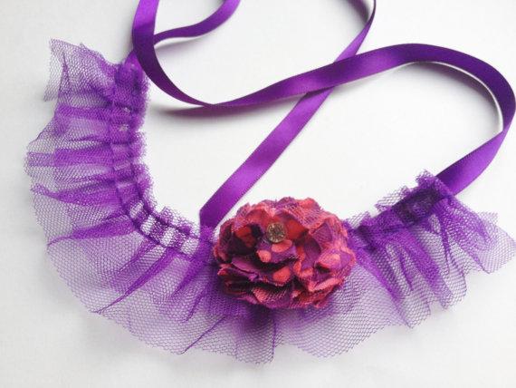 زفاف - DOG FLOWER COLLAR - Purple tie with Pink and purple flower,Pet Wedding,Ties on, Pet Flower Dog Wedding, Pet Corsage, Dog flower , Dog Bow