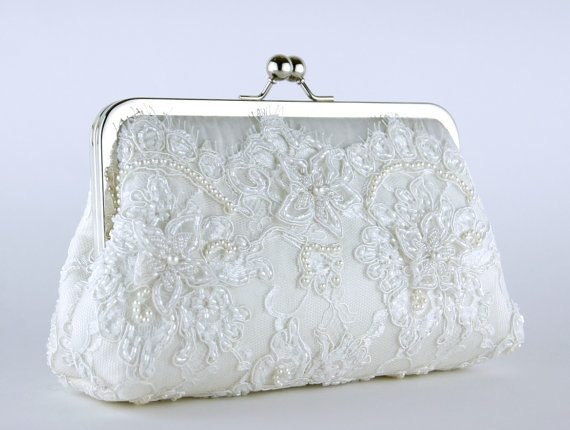 Свадьба - Bridal clutch, Alencon Beaded and Appliquéd Lace  Silk Clutch in White off,  wedding clutch, Purse for wedding