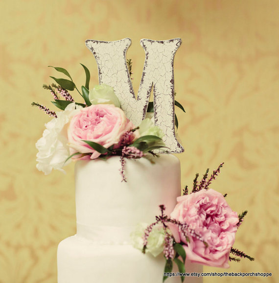 Wedding Cake Topper / 6 In High / Wood / Any Letter A - Z / Shabby ...