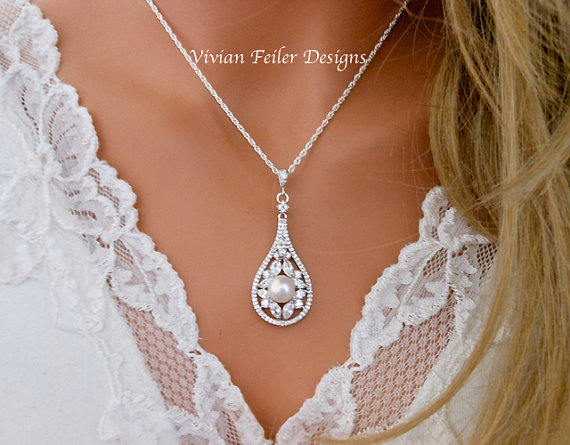 Свадьба - Bridal PEARL Necklace WEDDING Jewelry VINTAGE Style White Or Ivory Cubic Zirconia Glamorous Bling Cubic Zirconia Prom Wedding Jewellery