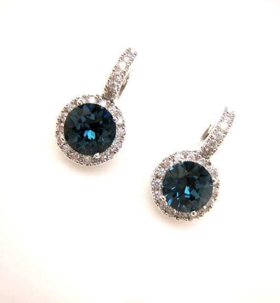 Mariage - bridal earrings wedding jewelry prom AAA cubic zirconia deco swarovski round montana navy rhinestone white gold click style lever back hoop