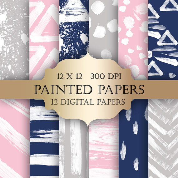 Mariage - Geometric Painted Digital Paper Pack - Navy pink & grey paint strokes pattern backgrounds for scrapbooking, wedding invitations, backdrop