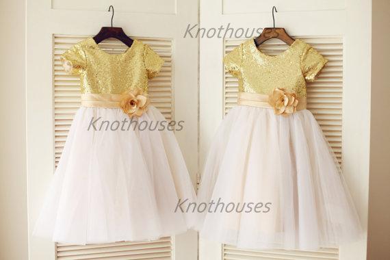 Свадьба - Gold Sequin Ivory Tulle Flower Girl Dress Short Sleeves Children Toddler Party Dress for Wedding Junior Bridesmaid Dress