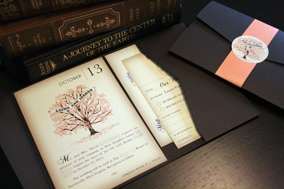 sample fall vintage book wedding invitation pocketfold wedding