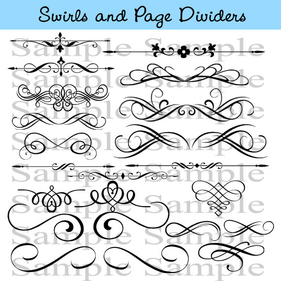 Mariage - Swirls Wedding Clipart INSTANT DOWNLOAD Calligraphy Design Elements Page Dividers Clip Art Flourish Clip Art Calligraphy Embellishments