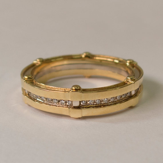 Mariage - Gold Wedding Band, Men's 14K Gold and Diamonds Wedding band, steampunk , Wedding ring, two tone gold ring, mens ring, mens band, mans ring