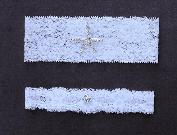 Свадьба - Wedding Garter Bridal Garter Set White or Ivory Lace Garter Belt Rhinestone Crystal Starfish Garter Belt Beach Wedding GR061LX