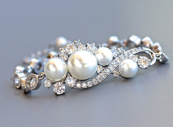 Свадьба - Bridal Bracelet, Pearl Bracelet, Crystal Wedding Bracelet, Pearl Wedding Jewelry, Bridal Jewelry, TILLY