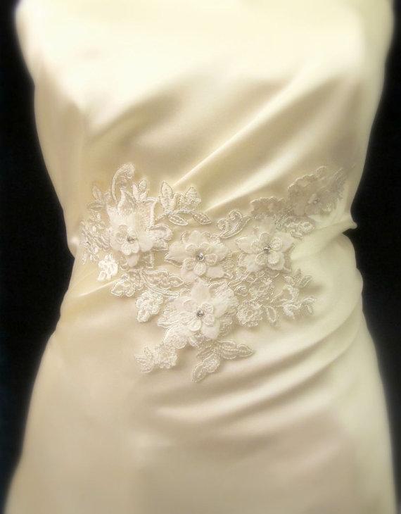 Wedding - Bridal Ivory  Applique for Straps , Bust,  Bridal Sash Belt Wedding Sashes  Dress Appliques