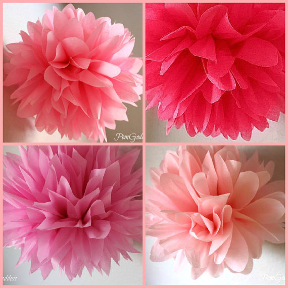 10 tissue pom poms wedding reception decorations ceremony decorations nursery decor fowers. Black Bedroom Furniture Sets. Home Design Ideas