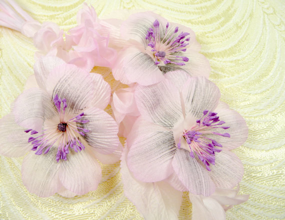 Hochzeit - Vintage Silk Anenome Flowers Pale Pink Lavender NOS Germany SPray of 3 for Weddings Bouquets Corsage Hats