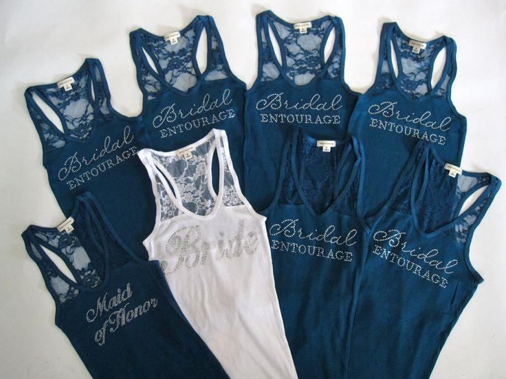 Mariage - 8 Bridal Entourage Tank Top Bridesmaid Shirt. Half Lace. Team Bride, Bachelorette Party. White, Black, Sky Blue, Purple