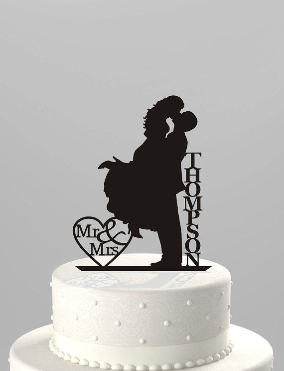 Wedding - Wedding Cake Topper Silhouette Couple Mr & Mrs Personalized With Last Name, Acrylic Cake Topper [CT18f]