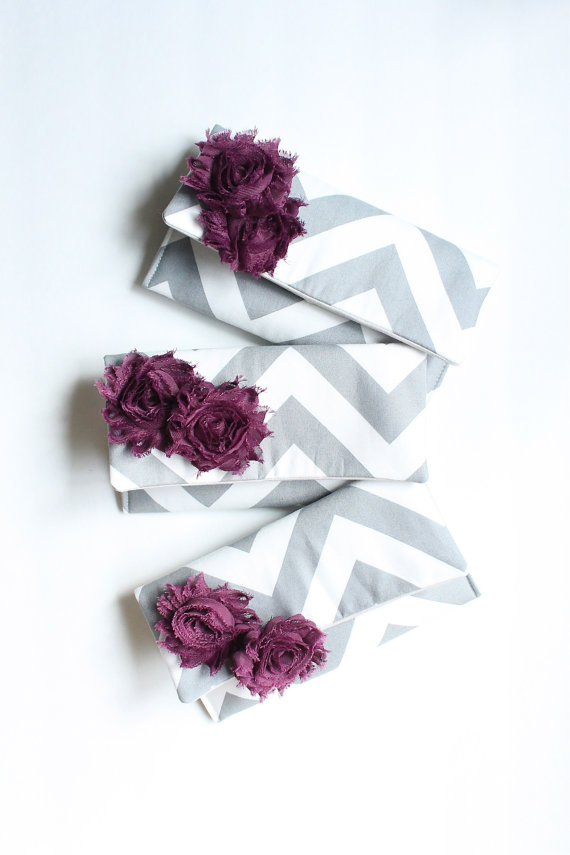 Свадьба - Plum and Gray Chevron Bridesmaid Clutches Set of 3, Wedding Favor Gift, Bridal Party Bag, Custom Colors