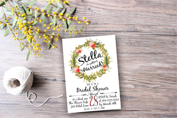 Mariage - Floral Wreath Bridal Shower Invitation Digital Download, Wedding Boho Bachelorette Party, Engagement Printable, Birthday Invite, Arrows
